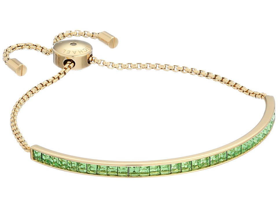 Michael Kors - Adjustable Slider Bracelet (Gold/Mint Cubic Zirconium) Bracelet