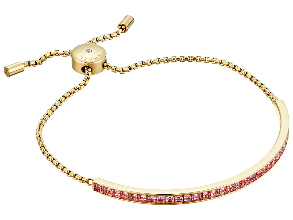 Michael Kors - Adjustable Slider Bracelet (Gold/Pink Cubic Zirconium) Bracelet