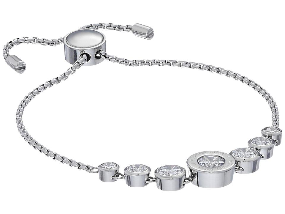 Michael Kors - Cubic Zirconium Logo Adjustable Bracelet (Silver/Clear) Bracelet