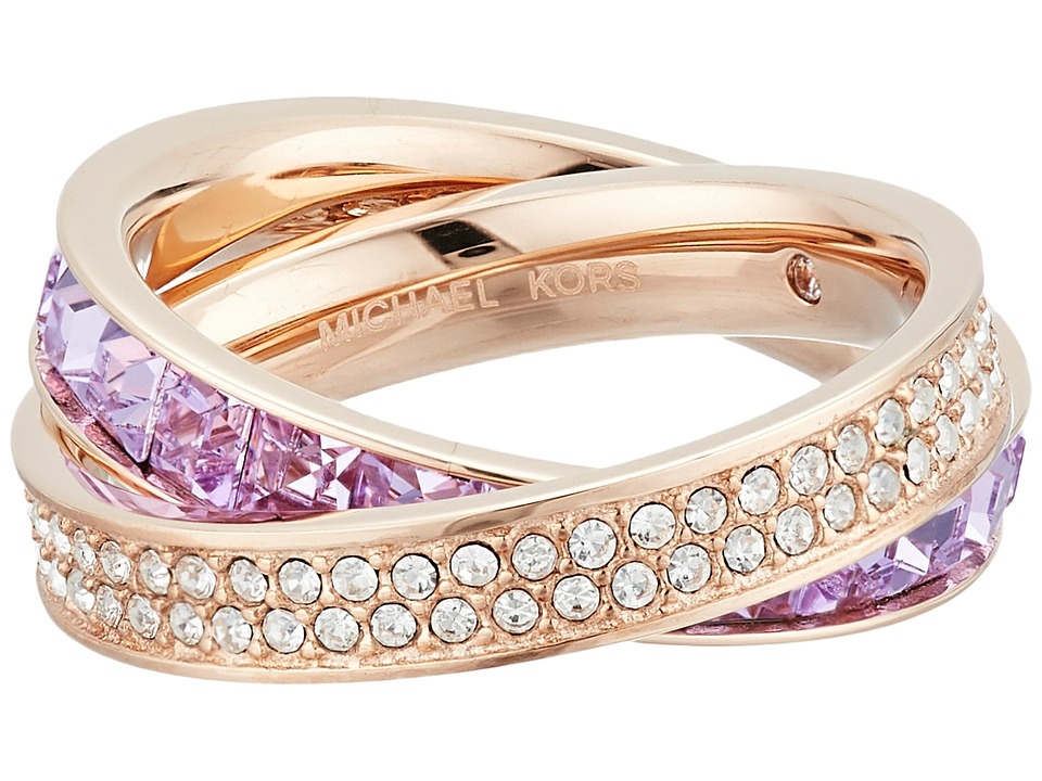 Michael Kors - Cubic Zirconium Interlocking Ring (Rose Gold/Levender Cubic Zirconium/Clear) Ring
