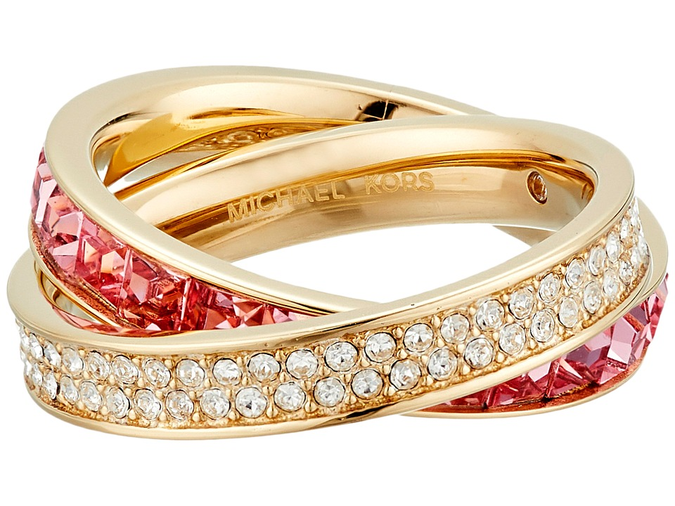 Michael Kors - Cubic Zirconium Interlocking Ring (Gold/Pink Cubic Zirconium/Clear) Ring