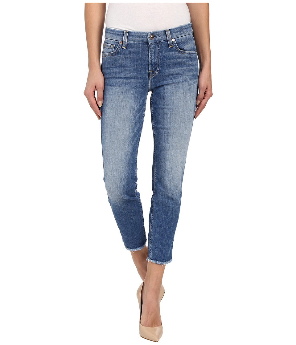 7 For All Mankind - Kimmie Crop w/ Raw Hem in Vivid Authentic Blue (Vivid Authentic Blue) Women's Jeans