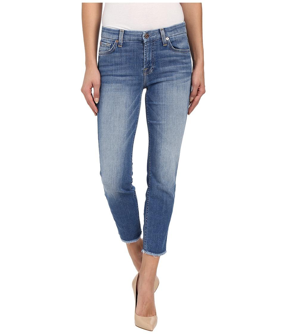 7 For All Mankind - Kimmie Crop w/ Raw Hem in Vivid Authentic Blue (Vivid Authentic Blue) Women's Jeans