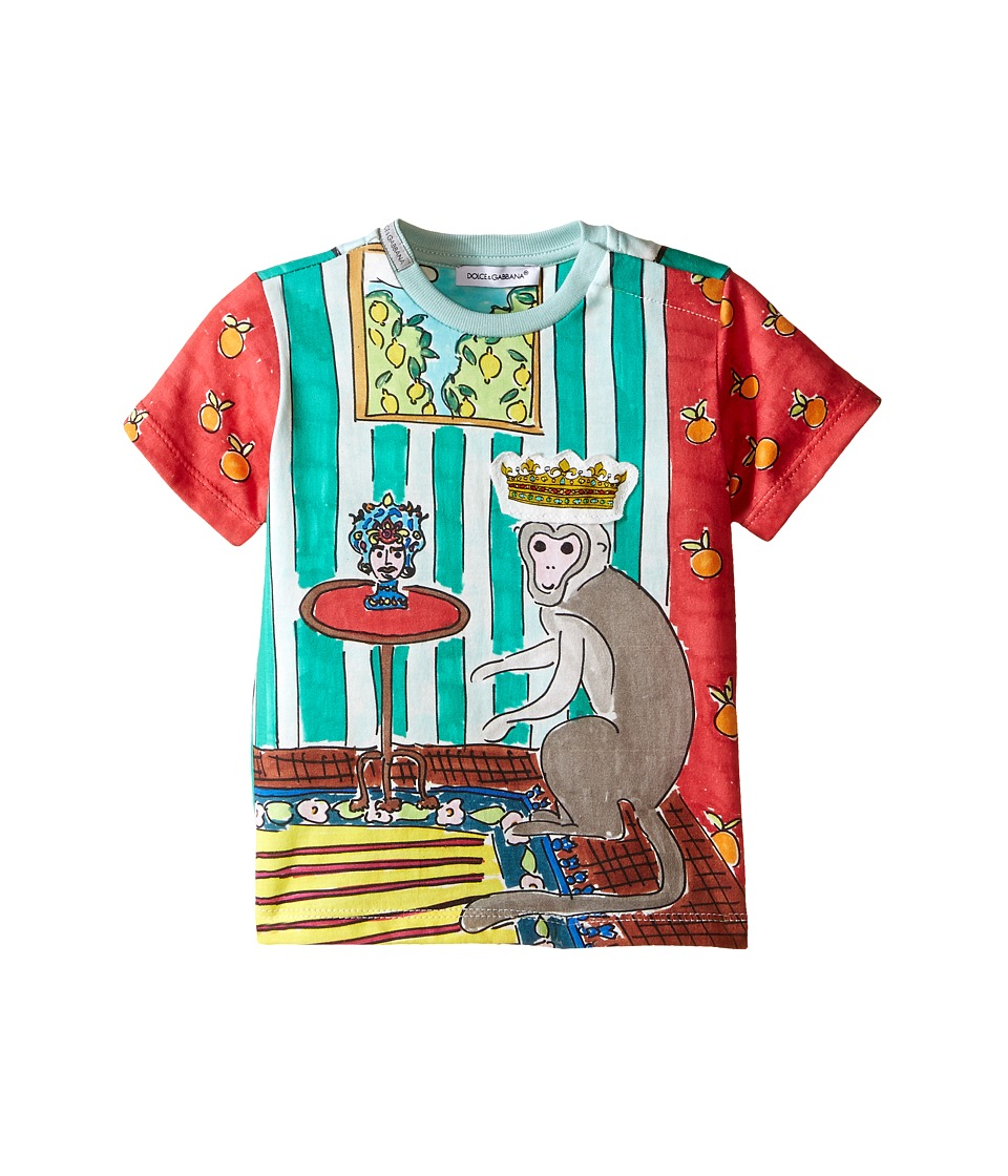 Dolce & Gabbana Kids - Monkey King T-Shirt (Infant) (Green/Red Print) Boy