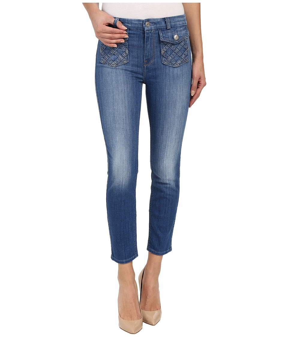 7 For All Mankind - Lattice Pocket Ankle Skinny in Authentic Washed Indigo (Authentic Washed Indigo) Women