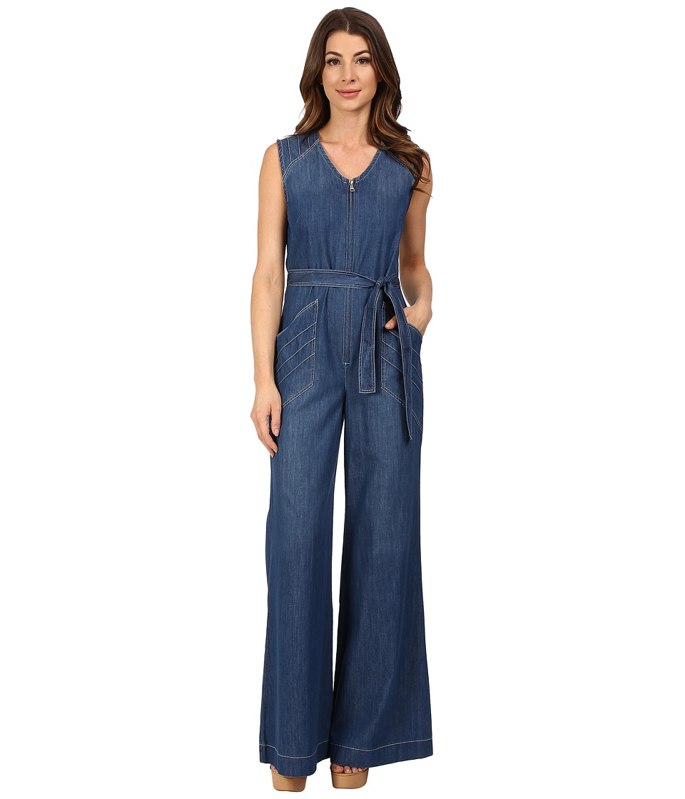 7 For All Mankind - Wide Leg Denim Jumpsuit w/ Topstitching in Crescent Blue (Crescent Blue) Women's Jumpsuit & Rompers One Piece