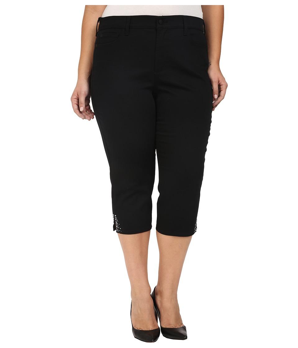 NYDJ Plus Size - Plus Size Ariel Crop Rhinestone in Black (Black) Women's Jeans