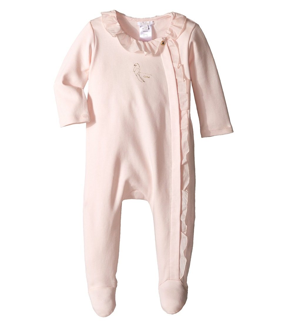 Chloe Kids - Cotton Bodysuits with Ruffles (Infant) (Light Pink) Girl's Jumpsuit & Rompers One Piece