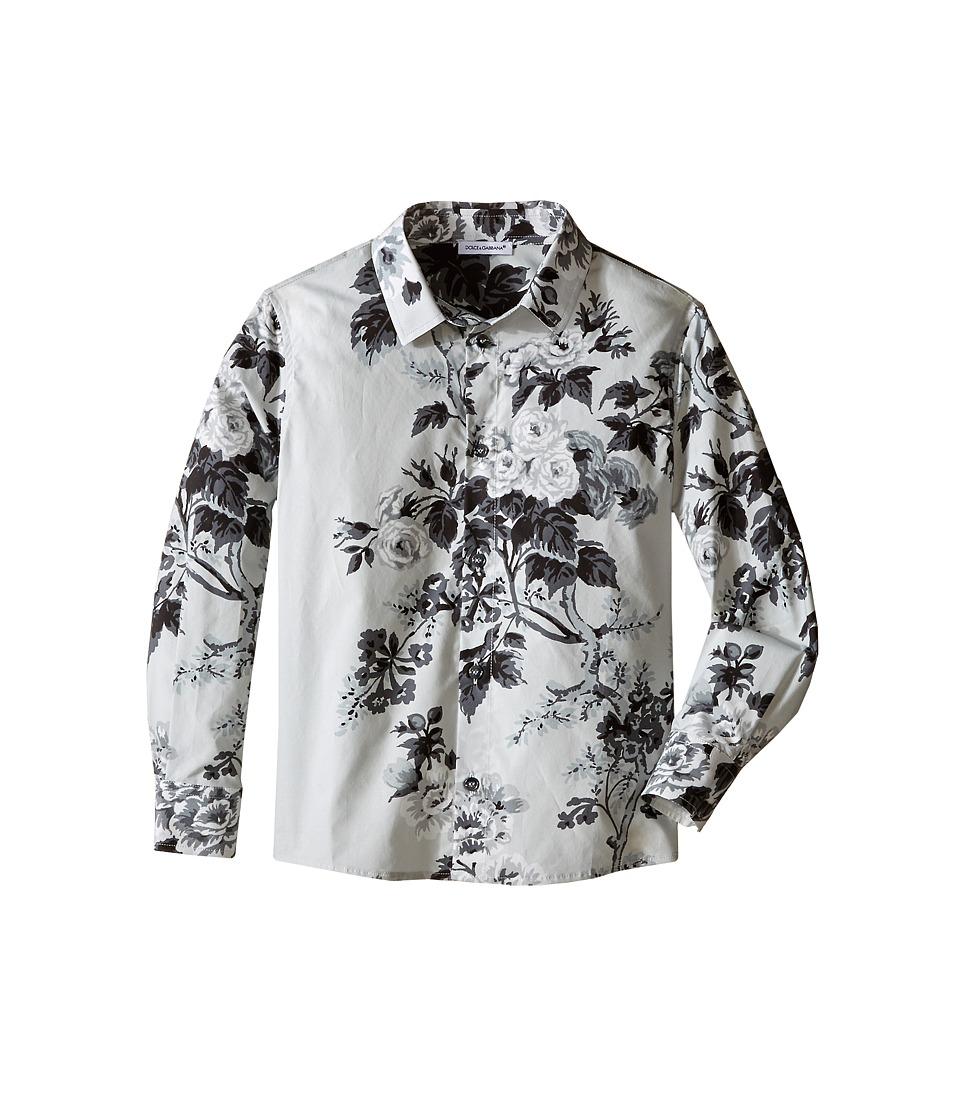 Dolce & Gabbana Kids - Fiori Button Up (Toddler/Little Kids) (Light Grey Print) Boy's Long Sleeve Button Up