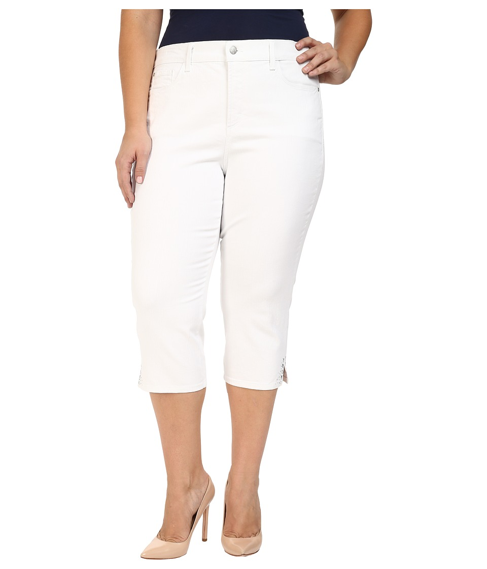 NYDJ Plus Size - Plus Size Ariel Crop Rhinestone in Optic White (Optic White) Women's Jeans