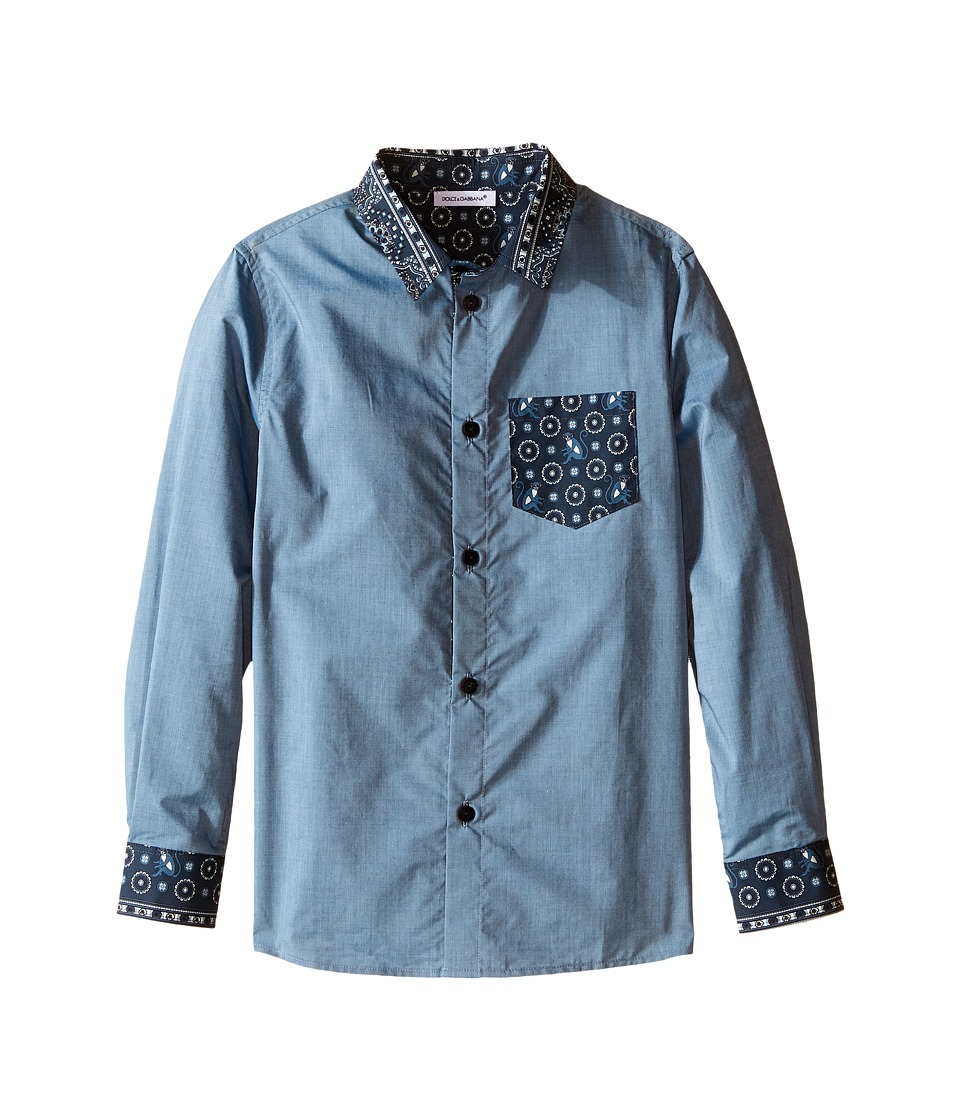 Dolce & Gabbana Kids - Contrast Collar/Pocket Shirt (Toddler/Little Kids) (Denim Print) Boy's Clothing