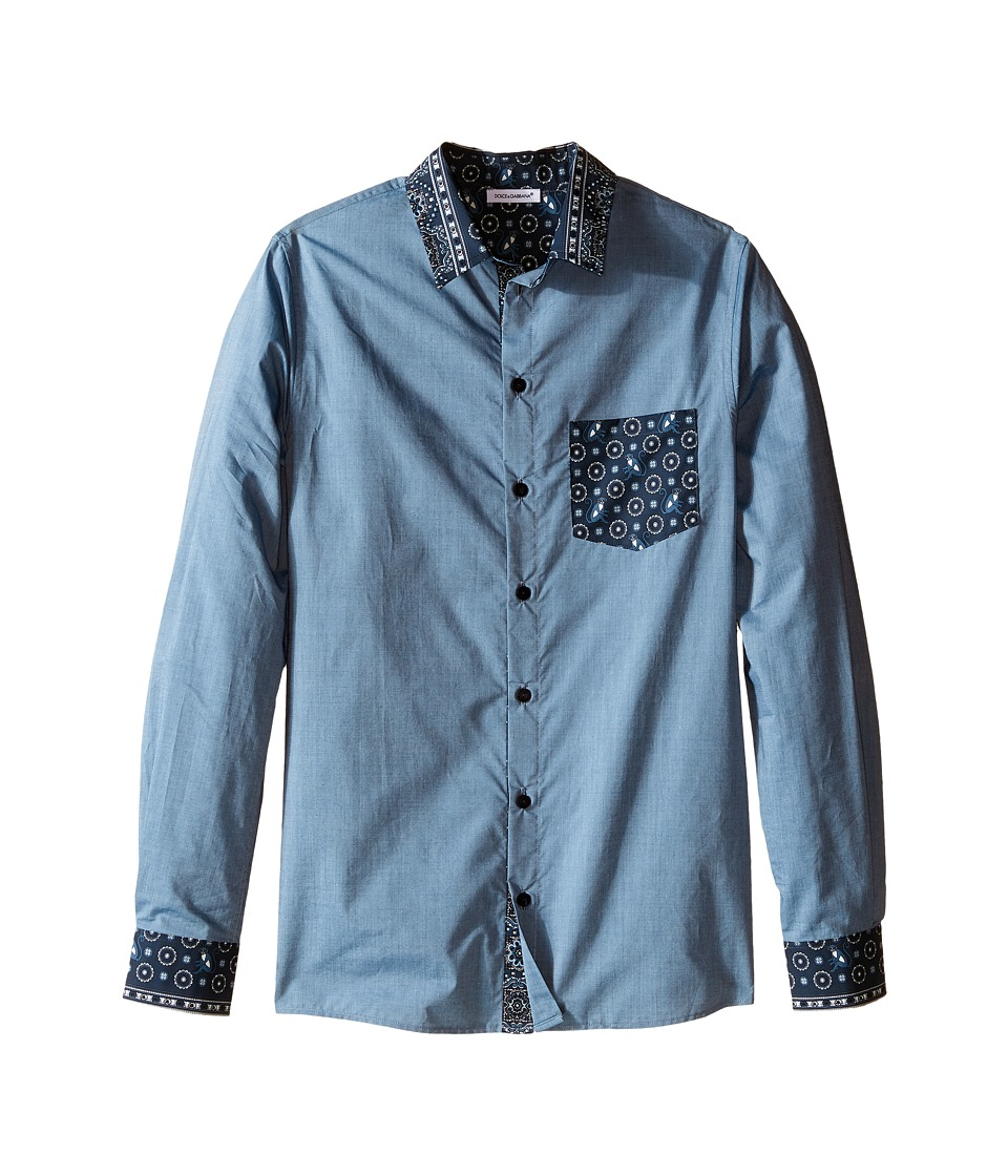 Dolce & Gabbana Kids - Contrast Collar/Pocket Shirt (Big Kids) (Denim Print) Boy's Clothing