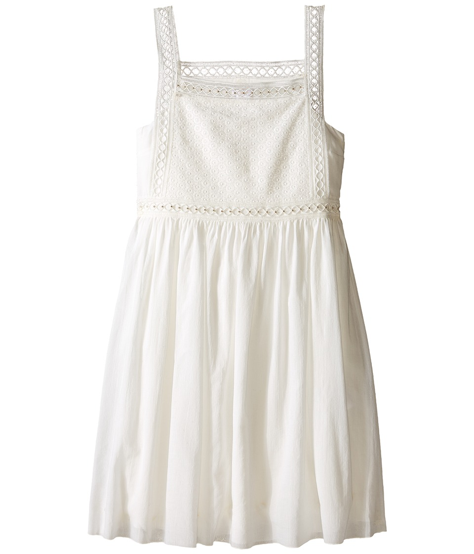 Chloe Kids - Cotton Crepe Couture Dress Embroidery Under Cover (Big Kids) (Off-White) Girl's Dress