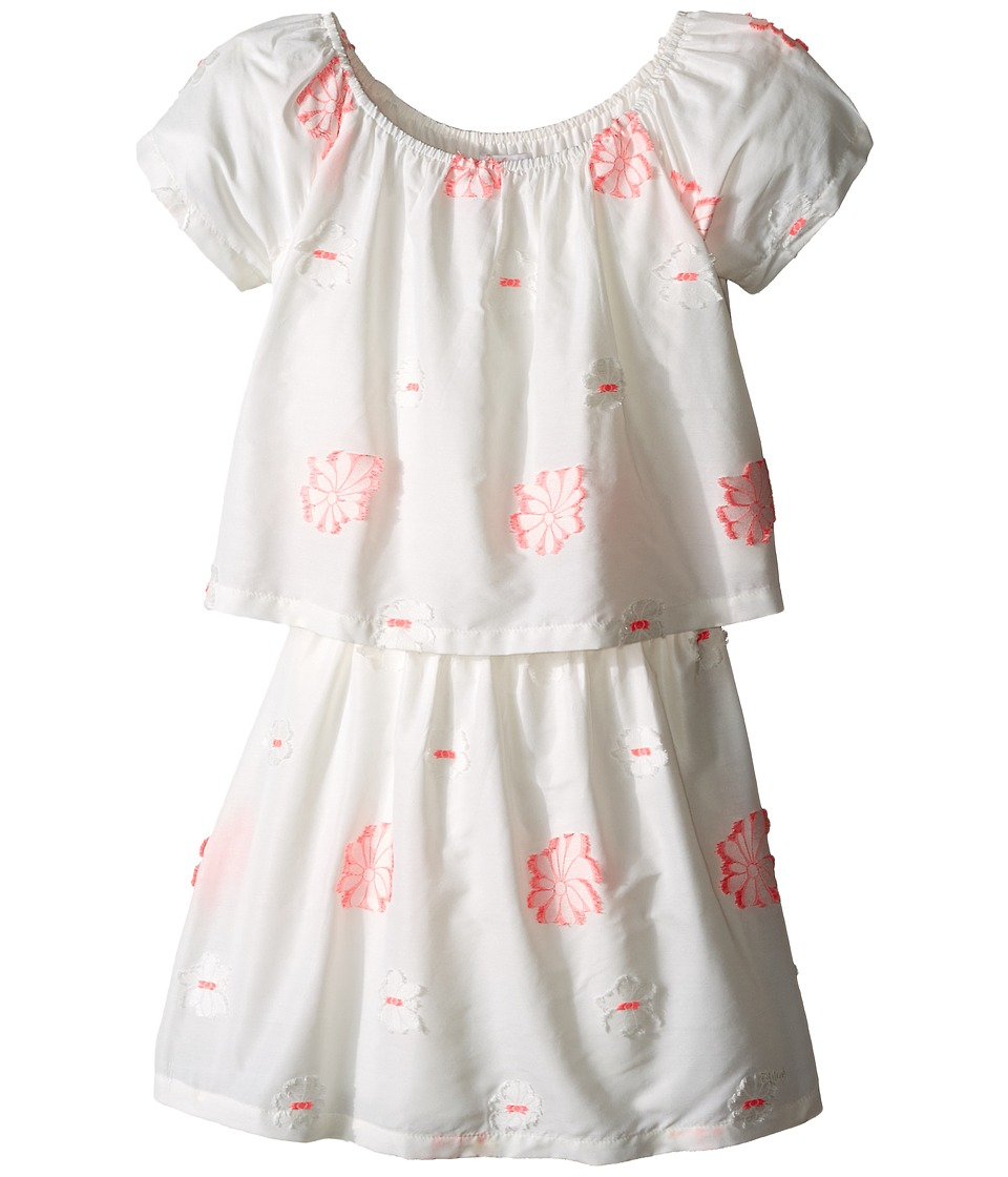 Chloe Kids - White Dress with Pink Embroidery (Little Kids/Big Kids) (Pink) Girl's Dress