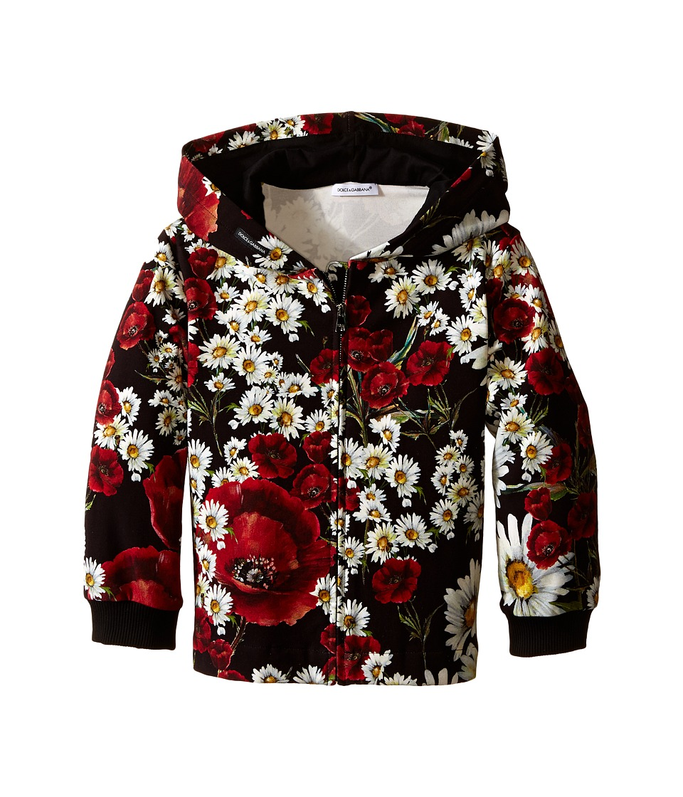 Dolce & Gabbana Kids - Fiori Hoodie (Big Kids) (Black Flower Print) Girl's Sweatshirt