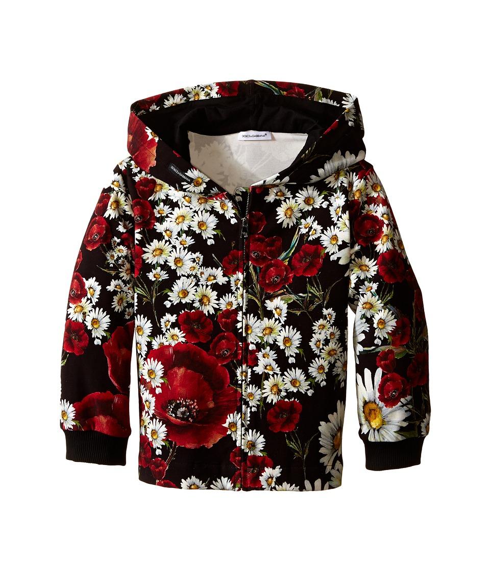 Dolce & Gabbana Kids - Fiori Hoodie (Big Kids) (Black Flower Print) Girl's Sweatshirt