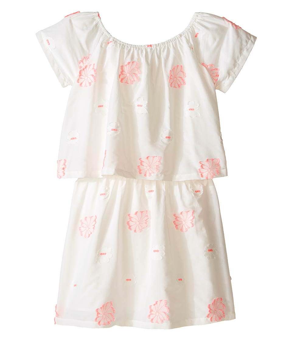 Chloe Kids - White Dress with Pink Embroidery (Big Kids) (Pink) Girl's Dress