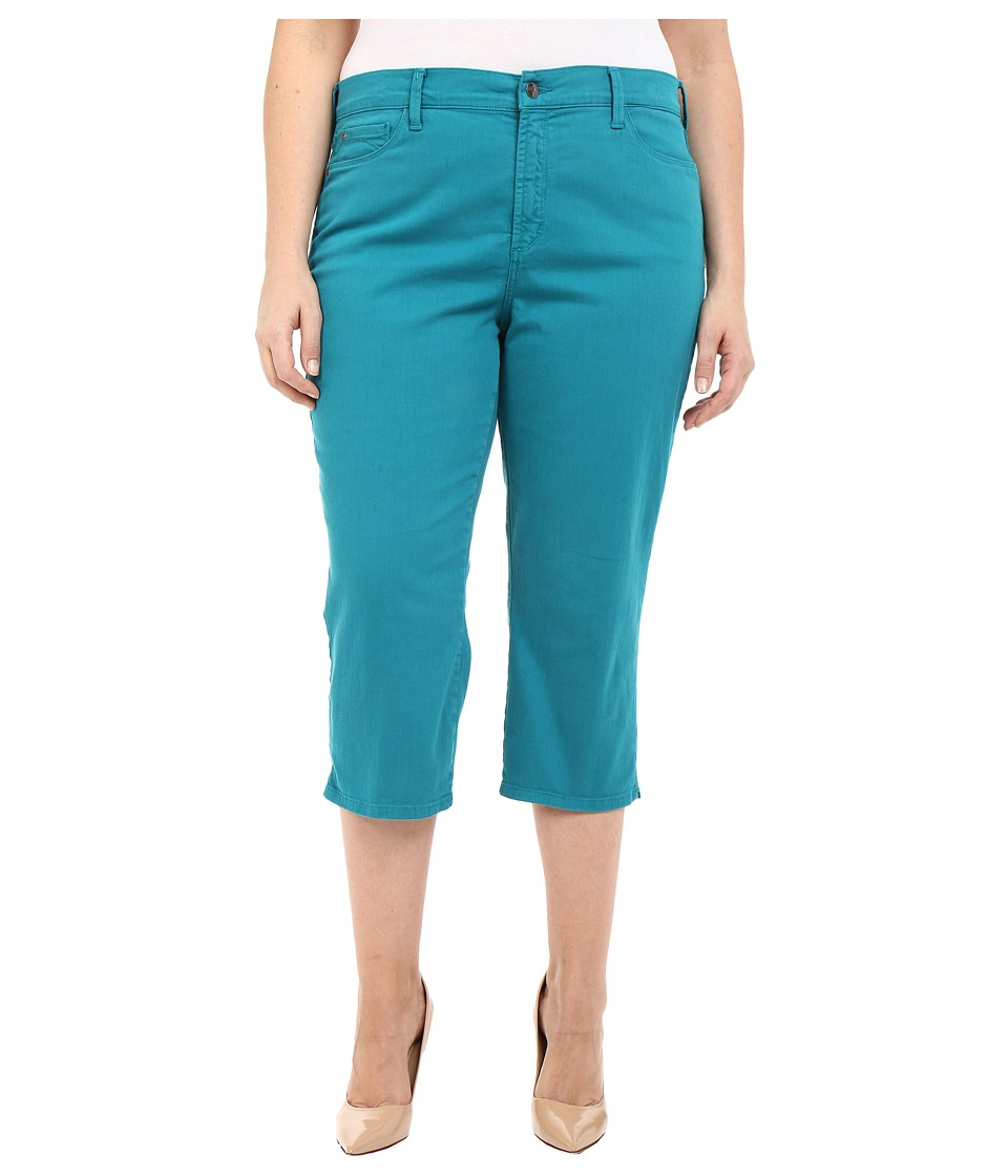 NYDJ Plus Size - Plus Size Ariel Crop w/ Slit in Turquoise (Turquoise) Women's Jeans