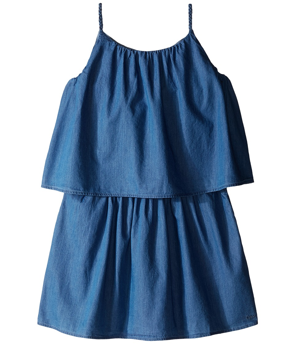 Chloe Kids - Light Denim Style Dress with Braided Straps (Big Kids) (Blue Denim) Girl's Dress