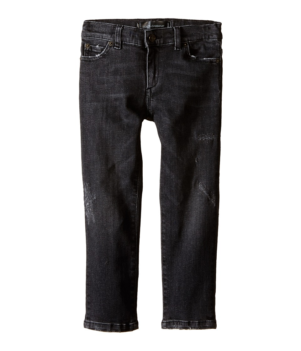 Dolce & Gabbana Kids - Distressed Denim in Charcoal (Toddler/Little Kids) (Charcoal) Boy's Jeans