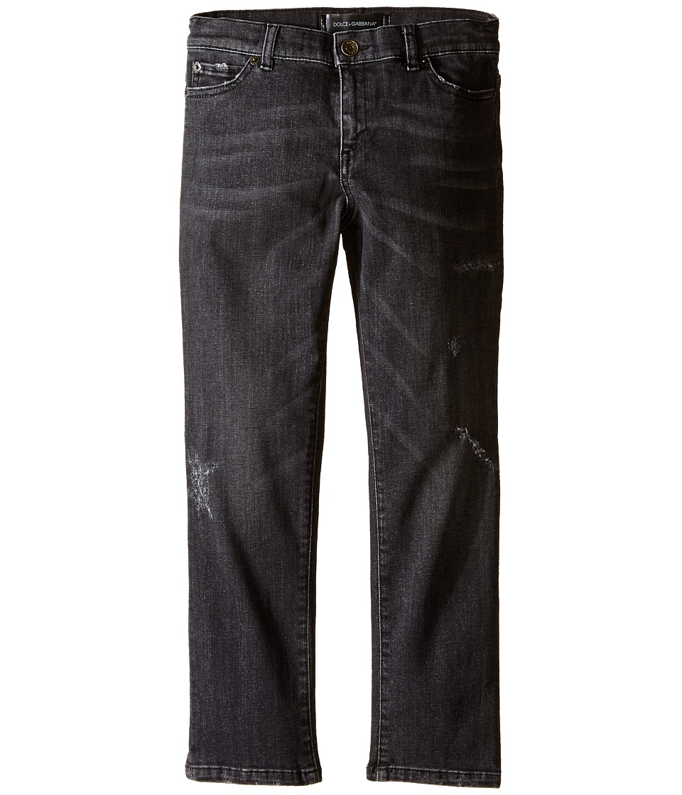 Dolce & Gabbana Kids - Distressed Denim in Charcoal (Big Kids) (Charcoal) Boy's Jeans