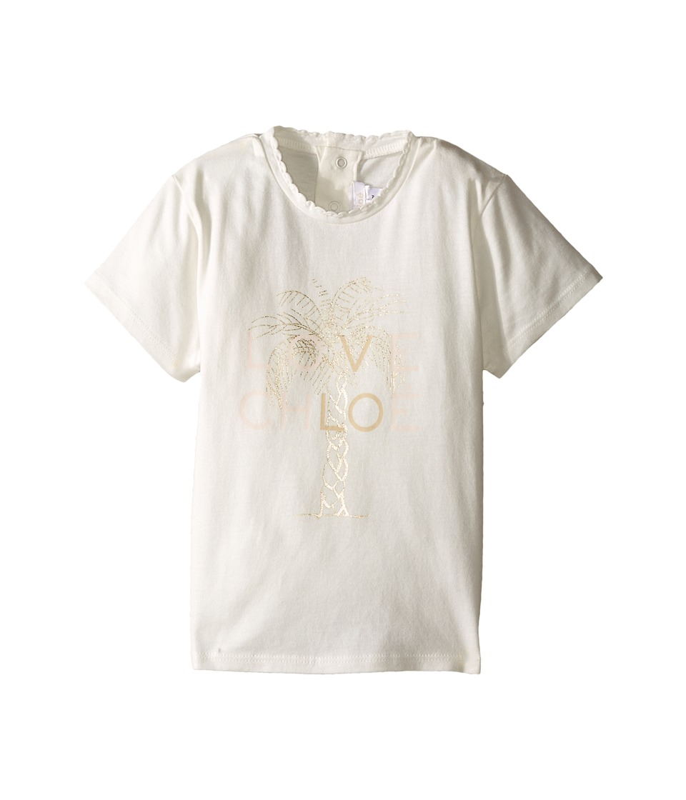 Chloe Kids - Cotton Tee Shirt with Gold Graphic (Infant) (Off-White) Girl's T Shirt