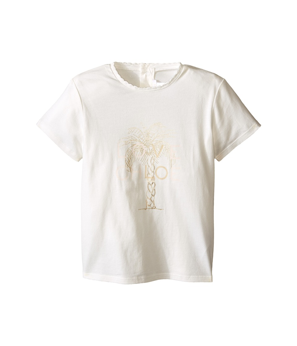 Chloe Kids - Cotton Tee Shirt with Gold Graphic (Toddler) (Off-White) Girl's T Shirt