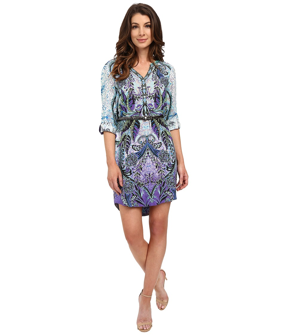 Hale Bob - Safari Palm Shirtdress with Belt (Periwinkle) Women's Dress