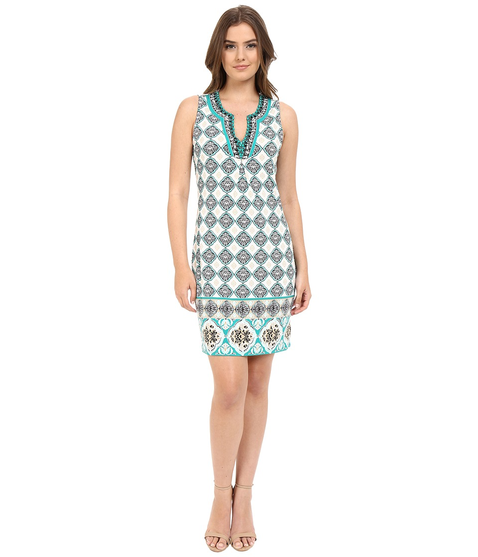 Hale Bob - Folk Tales Sleeveless Dress with Beading (Teal) Women's Dress