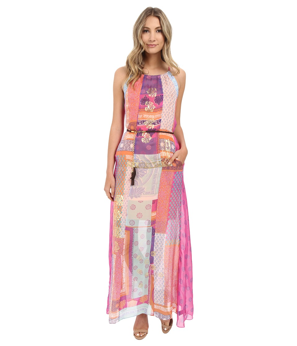 Hale Bob Mix Master Silk Maxi Dress with Belt (Fuchsia) Women