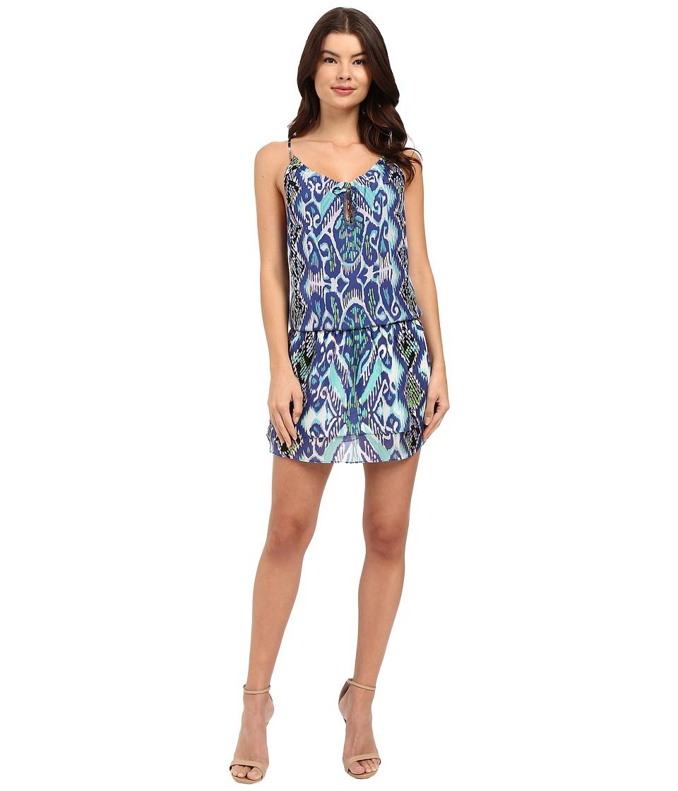 Hale Bob - Devil's Advocate Halter Style Silk Dress (Navy) Women's Dress