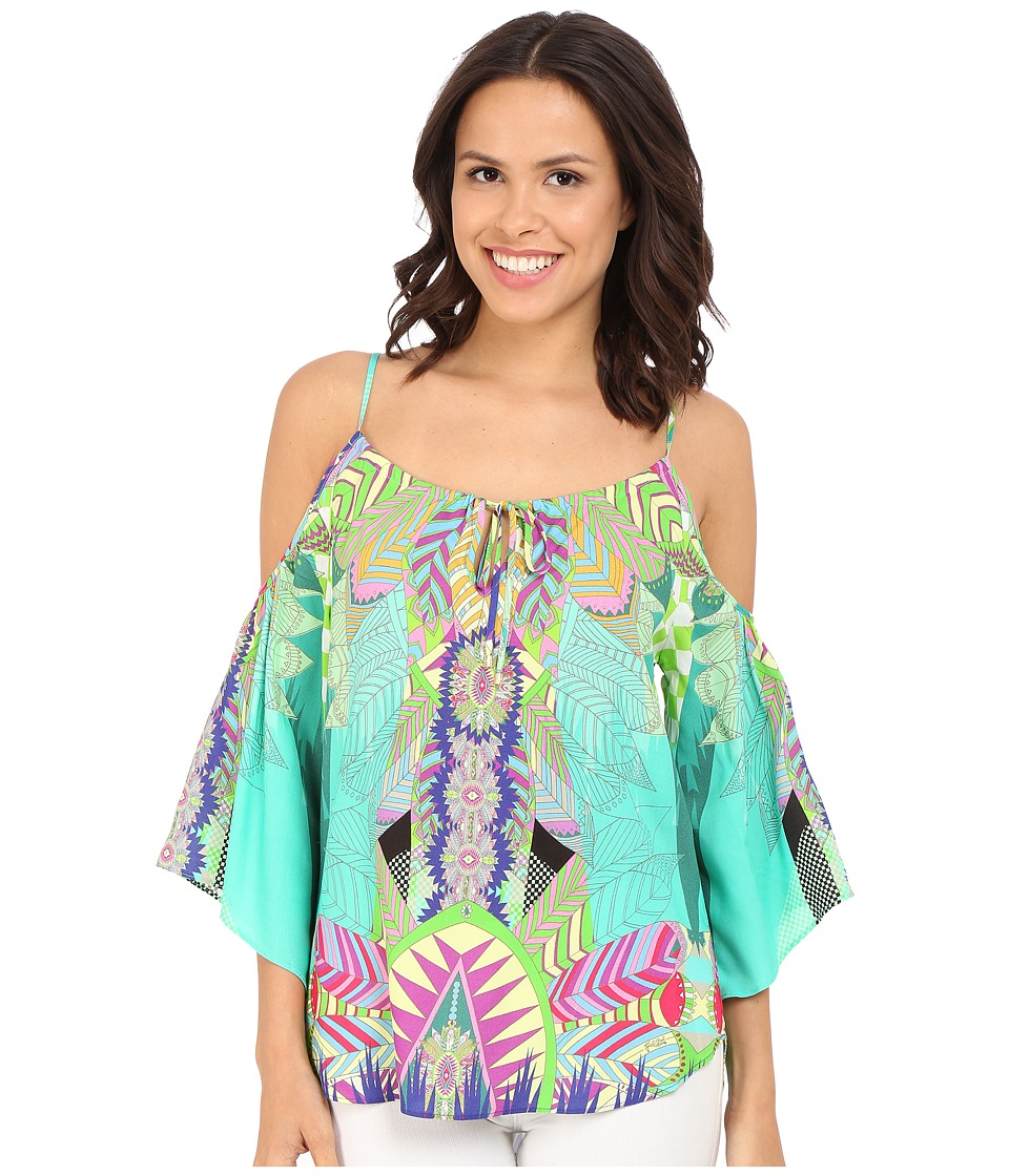 Hale Bob - Jungle Playground Cold Shoulder Top (Turquoise) Women's Clothing