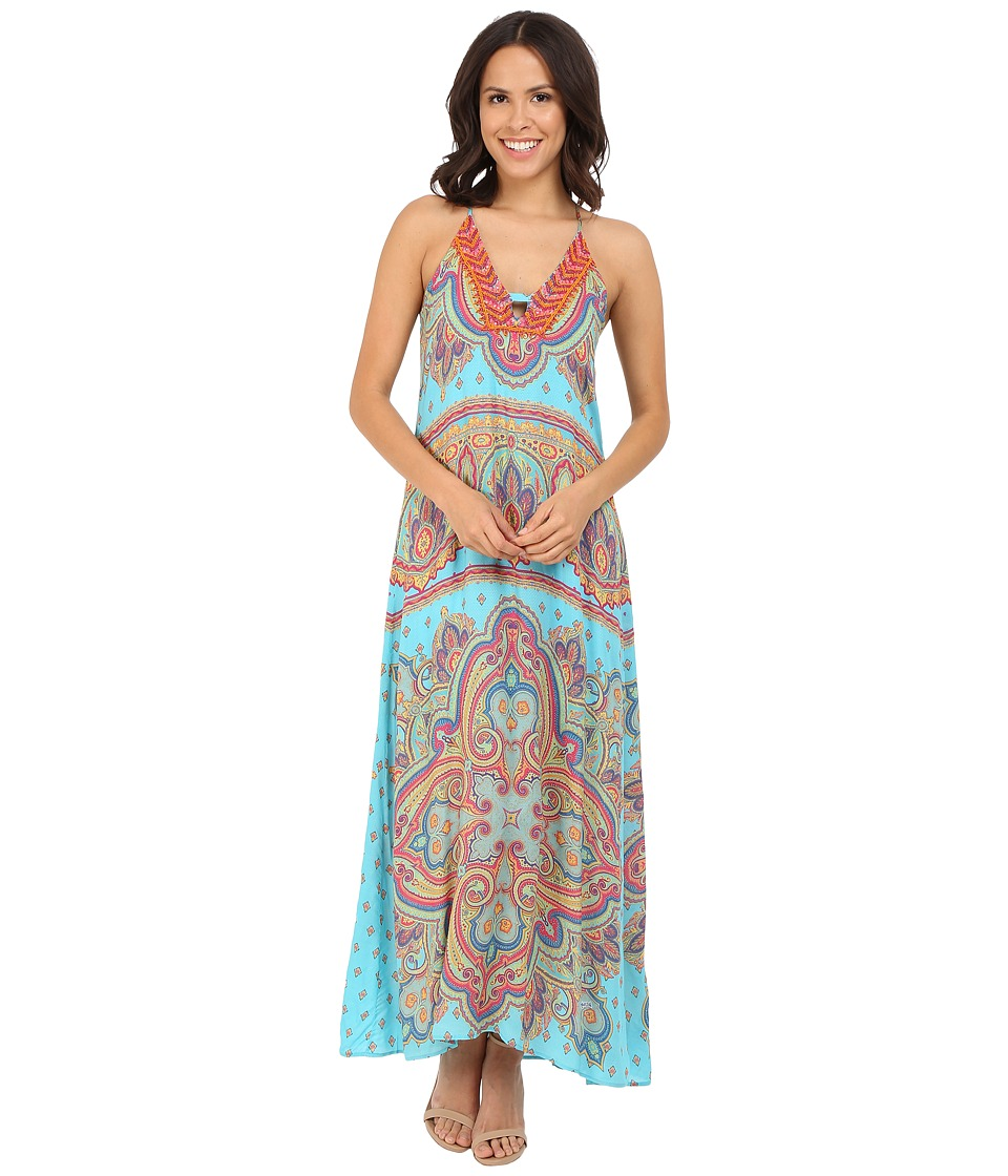 Hale Bob - Punch Paisley Maxi Dress (Turquoise) Women's Dress