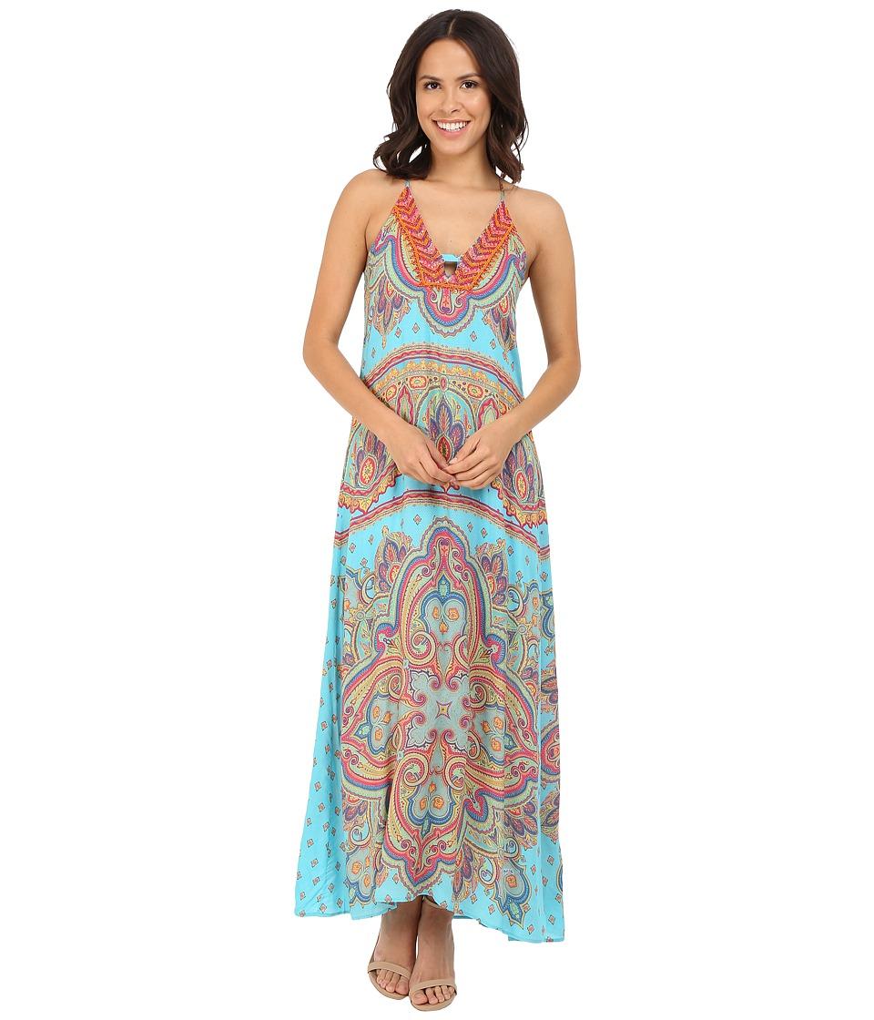 Hale Bob - Punch Paisley Maxi Dress (Turquoise) Women's Dress