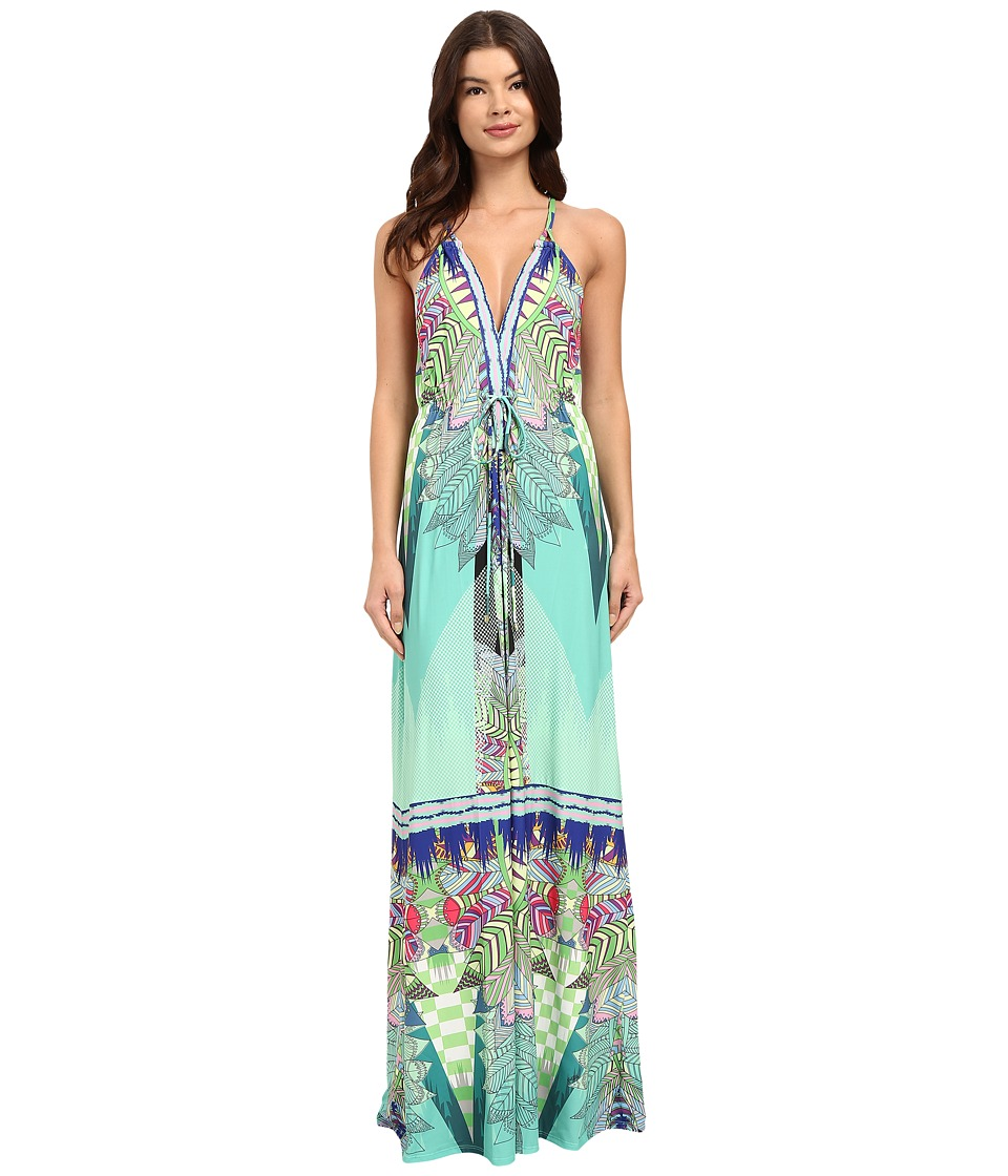 Hale Bob - Jungle Playground Maxi Dress (Turquoise) Women's Dress