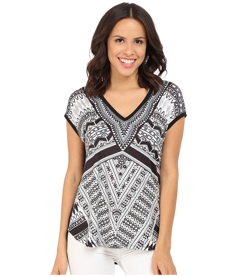 Hale Bob - Bold Geometry Mixed Media Top (Black/White) Women's Clothing