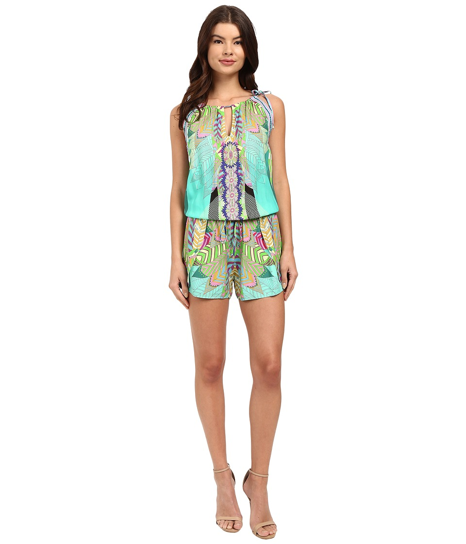 Hale Bob - Jungle Playground Romper (Turquoise) Women's Jumpsuit & Rompers One Piece
