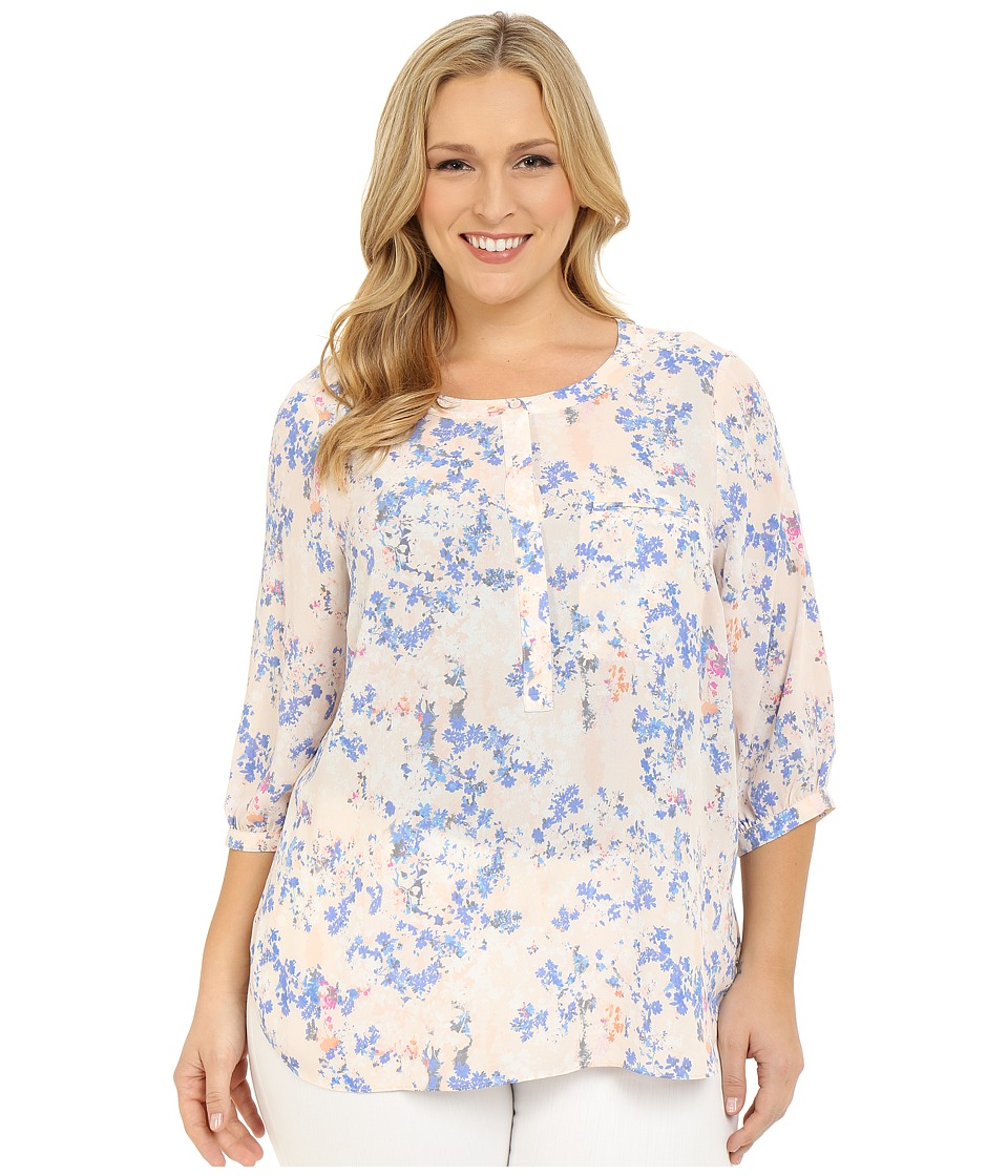 NYDJ Plus Size - Plus Size Solid 3/4 Sleeve Pleat Back (Forget Me Not Dreams) Women's Long Sleeve Button Up