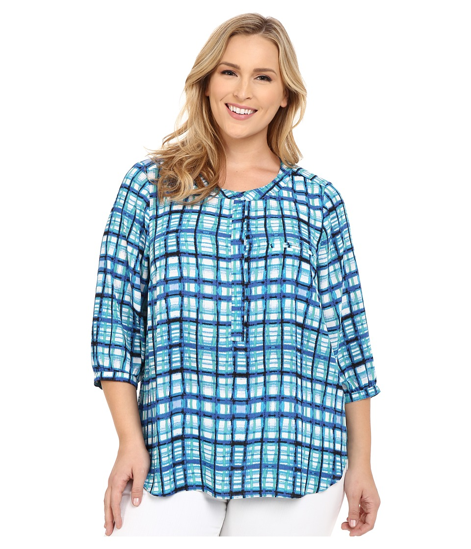 NYDJ Plus Size - Plus Size Solid 3/4 Sleeve Pleat Back (Aqualina Plaid) Women's Long Sleeve Button Up