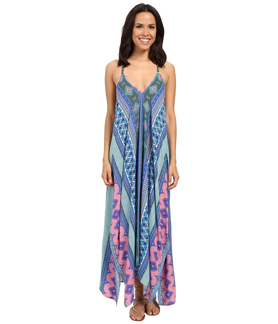 Hale Bob Hide and Go Chic Maxi Dress with Handkerchief Hem Detail (Blue) Women