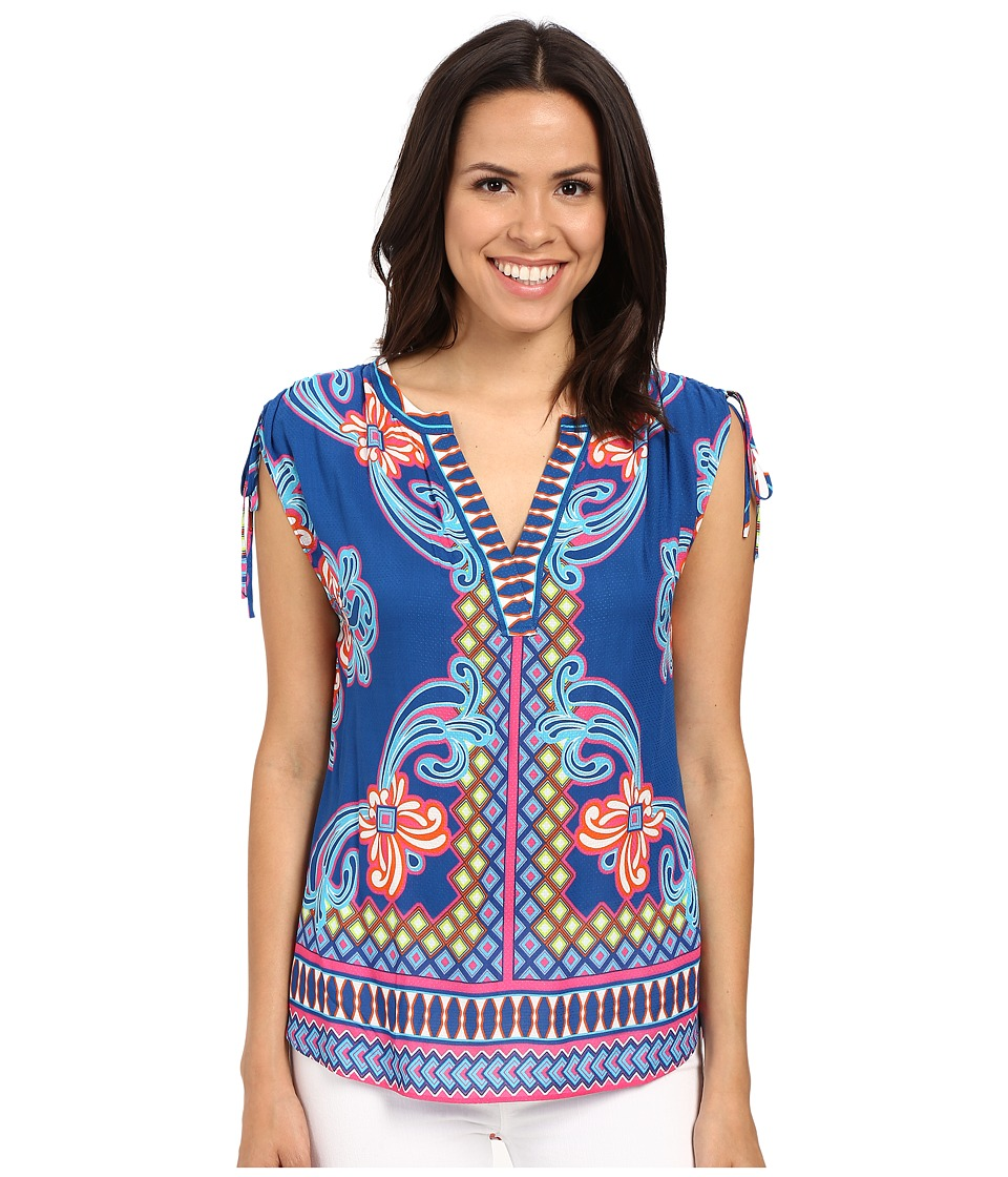 Hale Bob - Take Your Pick Top w/ Drawstring Detail at Shoulder (Blue) Women's Blouse