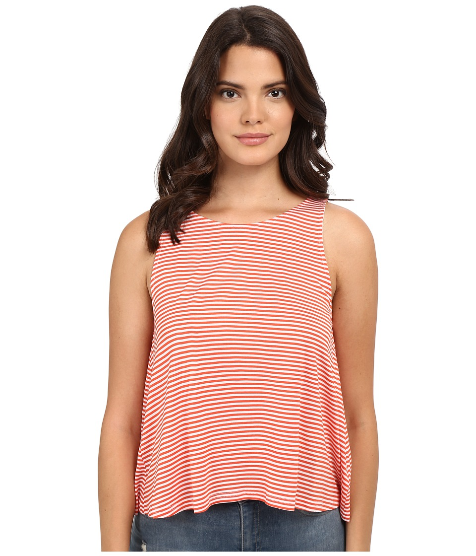 Jack by BB Dakota - Halen Yarn Dye Stripe Rayon Buttoned-Back Top (Hot Coral) Women's Clothing