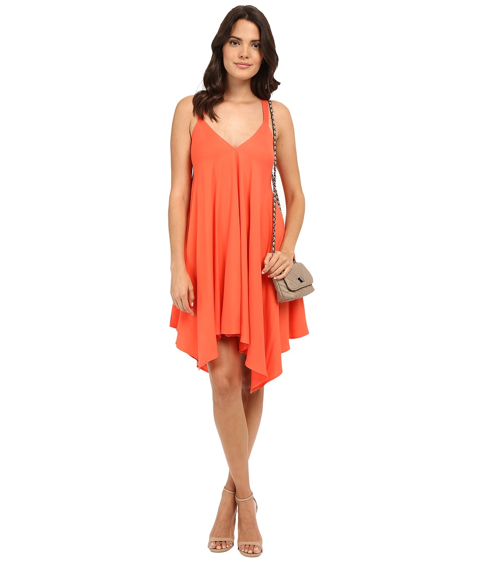 Jack by BB Dakota - Domani Twill Handkerchief Hem Dress with Twill Straps (Hot Coral) Women's Dress