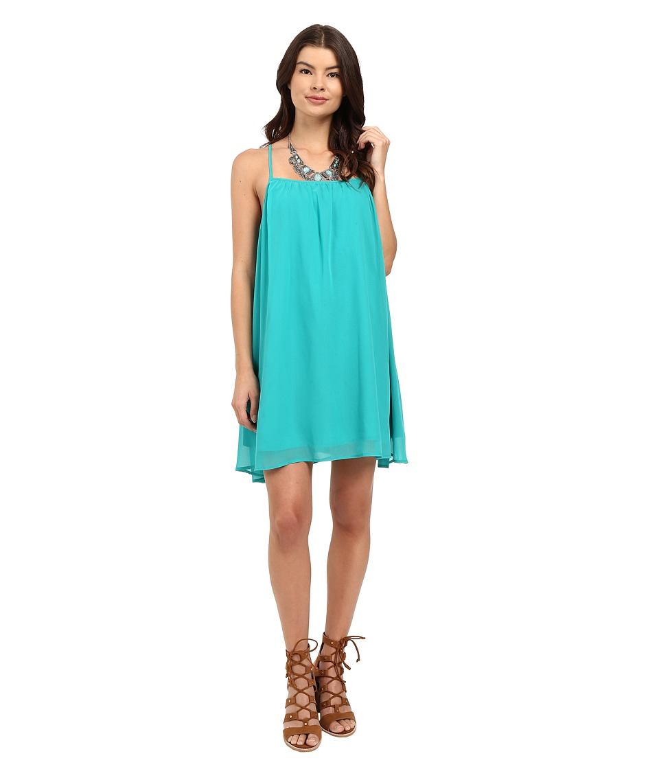 Jack by BB Dakota - Nanna Chiffon Gathered Cross Back Dress (Emerald Green) Women's Dress