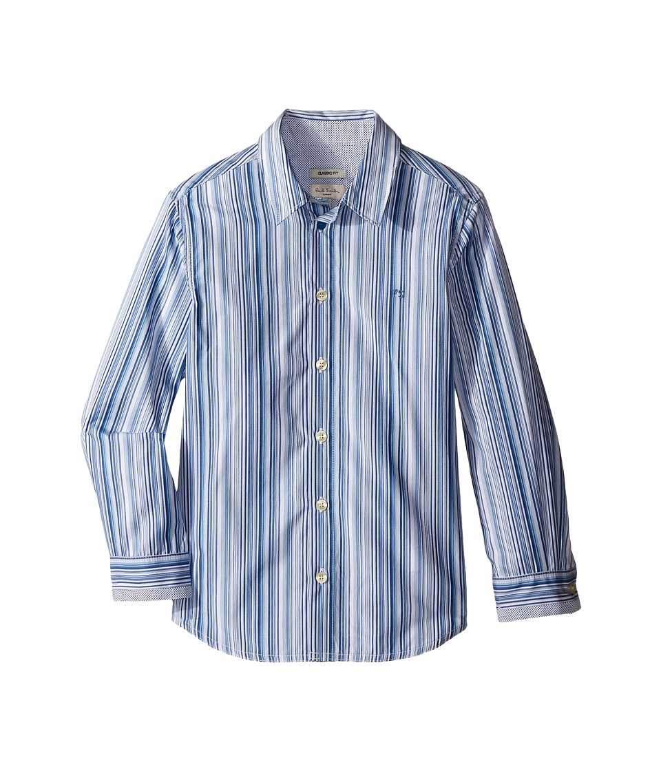 Paul Smith Junior - Blue/White Striped Shirt (Toddler/Little Kids) (White) Boy's Clothing