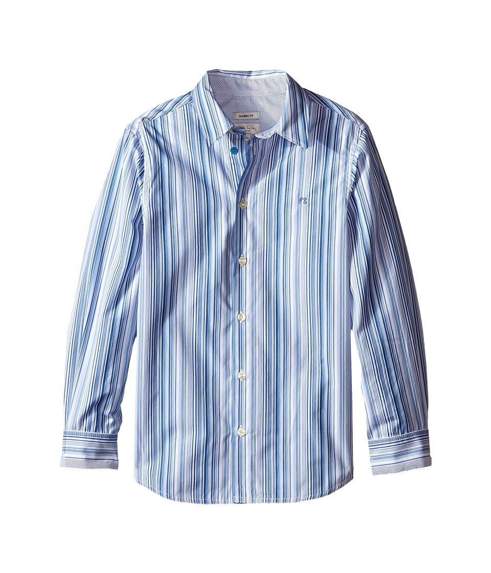 Paul Smith Junior - Blue/White Striped Shirt (Big Kids) (White) Boy's Clothing