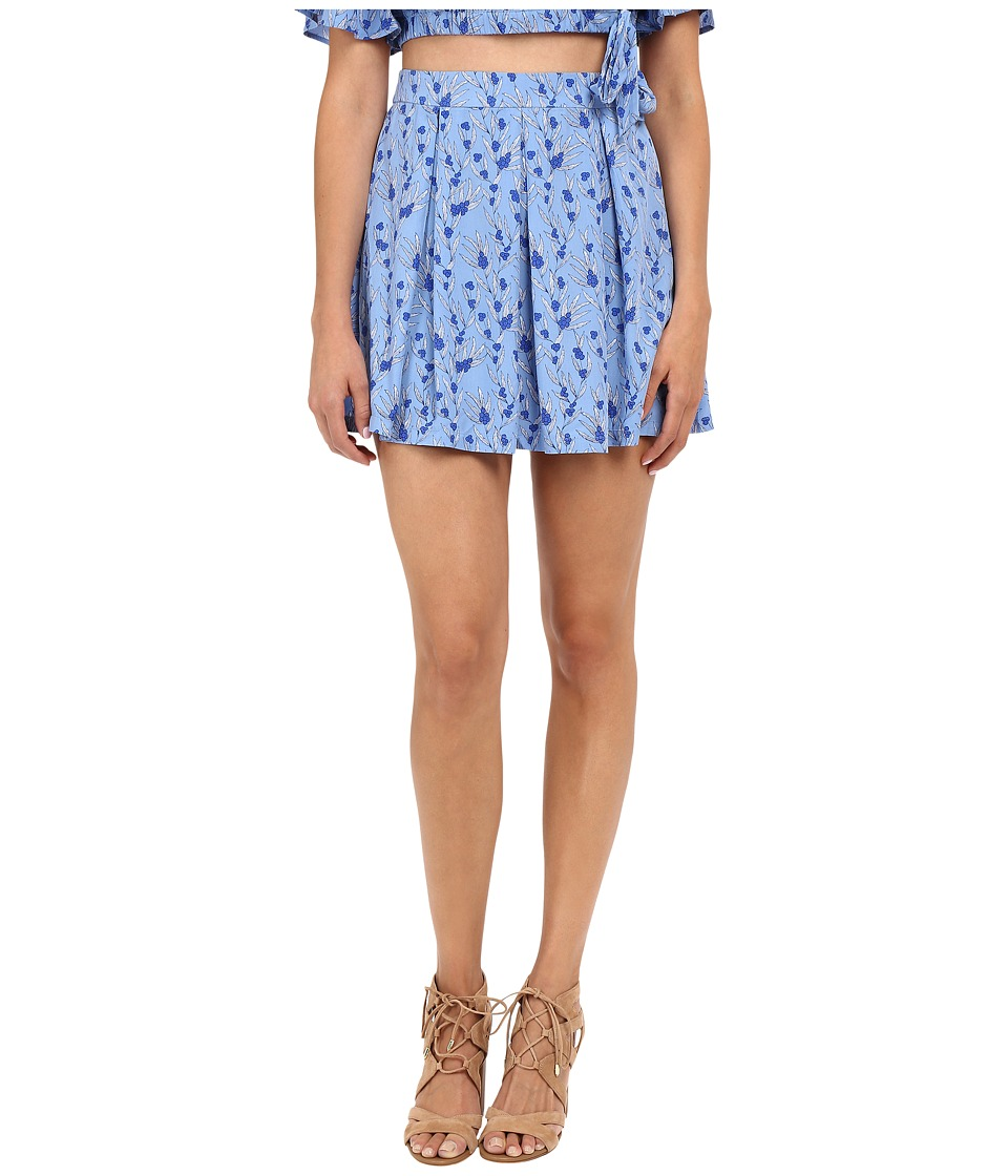 Jack by BB Dakota - Donoma Printed Rayon Challi Pleated Skirt (Blue) Women's Skirt