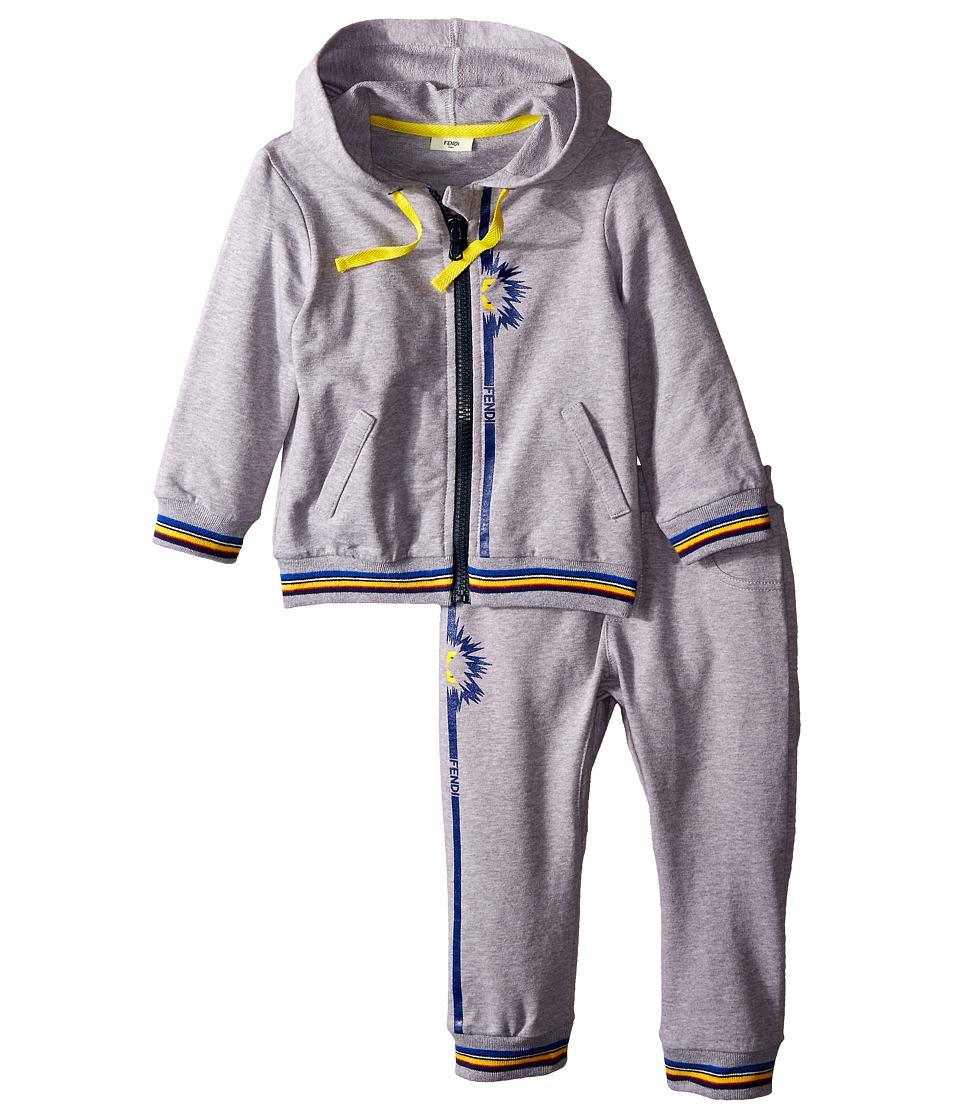 Fendi Kids - Jogging Top Pants Set w/ Monster Detail (Infant) (Grey) Boy's Active Sets