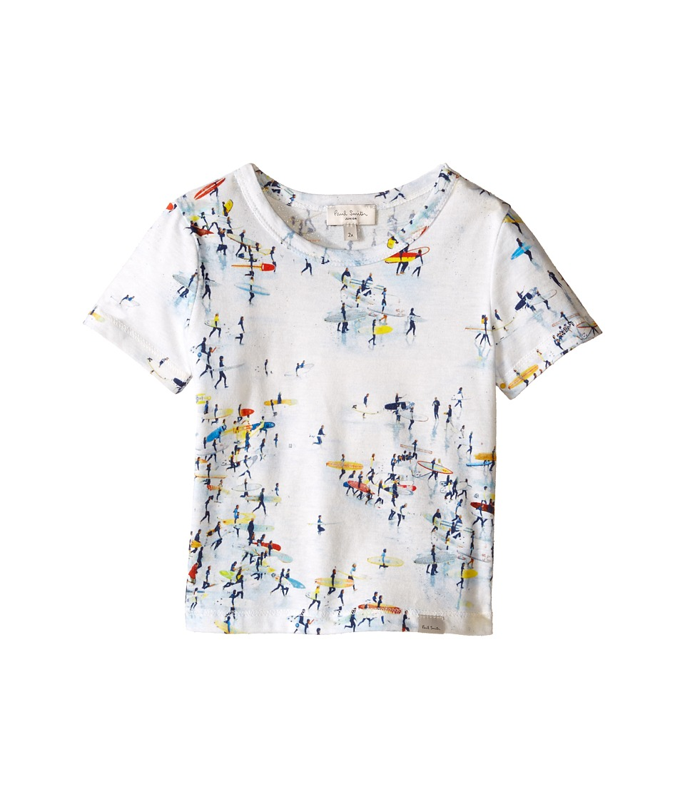 Paul Smith Junior - All Over Surfers On Beach Print Tee Shirt (Toddler/Little Kids) (White) Boy's T Shirt