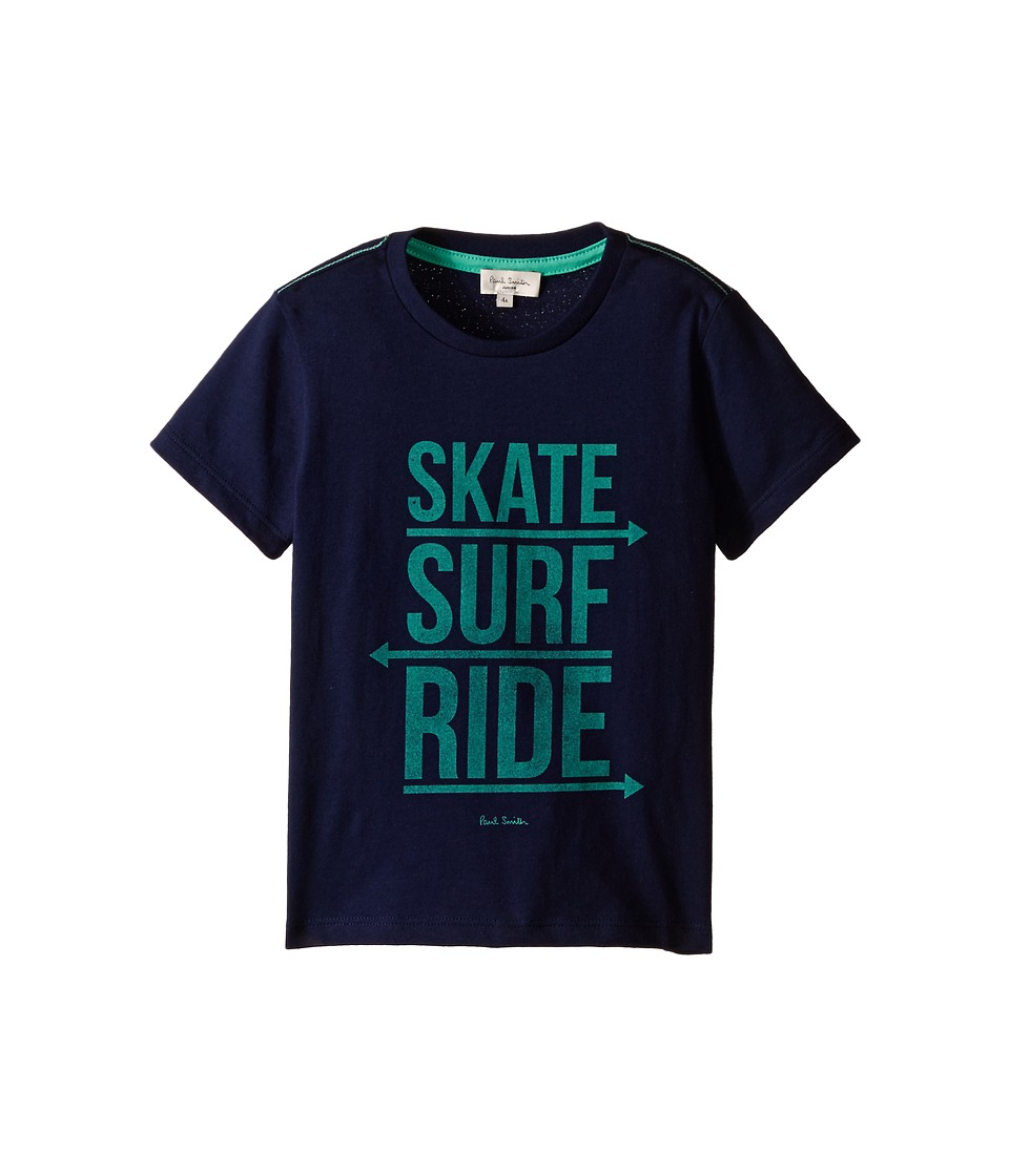 Paul Smith Junior - Skate Surf Ride Print Tee Shirt (Toddler/Little Kids) (Marine Blue) Boy's T Shirt